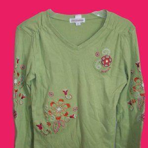 Genevieve Lapierre Green Shirt Girl Size 10